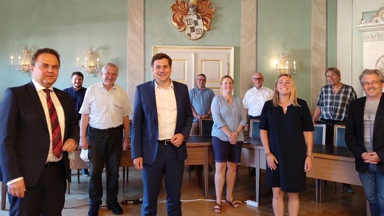 Dr. Hans-Peter Friedrich und der erste Bürgermeister von Wunsiedel, Nicolas Lahovnik und