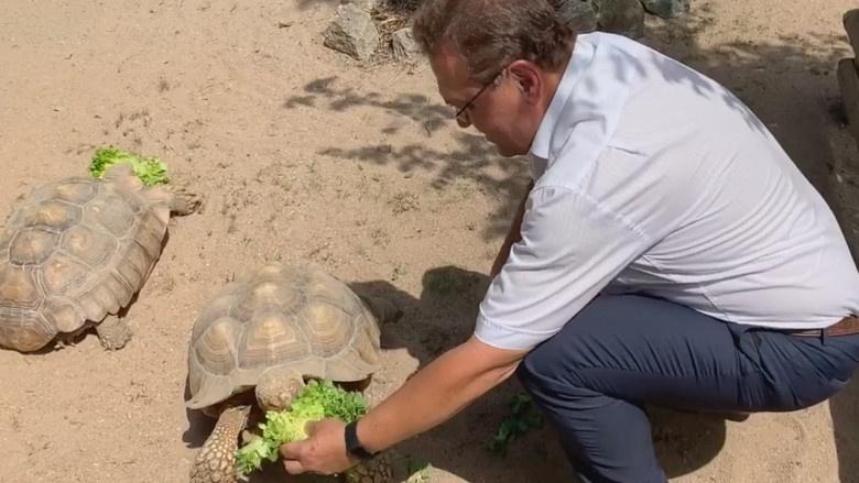 Der Pate Hans-Peter Friedrich mit seinem Patenkind Friedrich, eine Schildkröte aus dem Hofer Zoo
